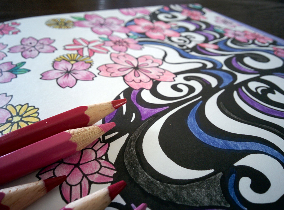 自律神経を整える塗り絵_流水、桜、菊